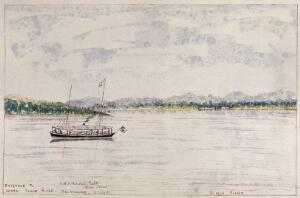 view Malaya: a steam yacht in the entrance to the Lower Klang River, Selangor. Watercolour by J. Taylor, 1880.