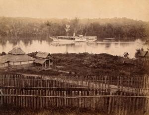view Malaya: steam yacht of the governor of the Straits Settlement on a Malaysian river. Photograph by J. Taylor, 1880.
