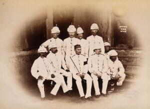 view Singapore: officers and men of the Royal Engineers employed in building fortifications. Photograph by J. Taylor, 1878.