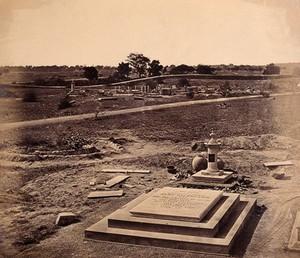 view India: the tombstone of Brigadier General Nicholson in a cemetery near Delhi. Photograph by F. Beato, c. 1858.