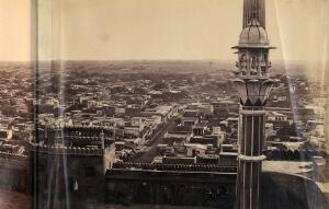 view India: part of a panoramic view of Delhi taken from the Jami Masjid mosque. Photograph by F. Beato, c. 1858.