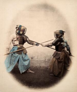 view Japan: spear-men wearing protective clothing and masks. Coloured photograph by Felice Beato, ca. 1868.