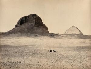 view The Pyramids of Dahshoor, Egypt: view from the east. Photograph by Francis Frith, ca. 1858.