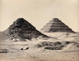 view The Pyramids of Sakkarah, Egypt: view from the north east. Photograph by Francis Frith, 1858.