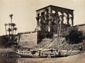 view The Hypaethral Temple, Philae, Egypt; a narrow boat in the foreground. Photograph by Francis Frith, ca. 1857.