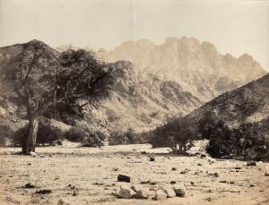 view Mount Serbal, Egypt: view from the Wadee Feyran. Photograph by Francis Frith, 1858.