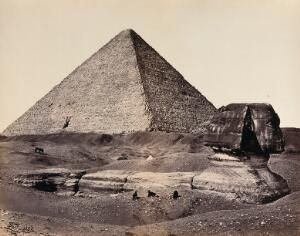 view The Great Pyramid and the Great Sphinx. Photograph by Francis Frith, 1858.