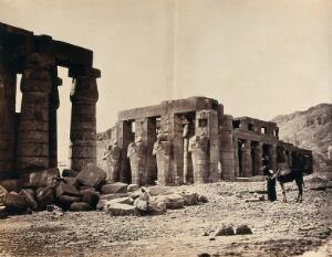 view The Rameseum of El-Kurneh, Thebes, Egypt. Photograph by Francis Frith, 1858.