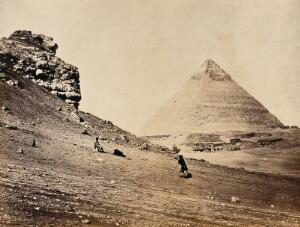view The Second Pyramid (one of the Pyramids of El-Geezeh), Egypt: view from the south east. Photograph by Francis Frith, 1858.