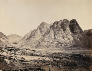 view Mount Horeb, Sinai, Israel. Photograph by Francis Frith, 1858.