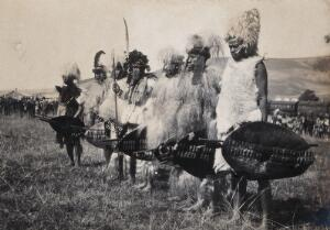view Natal, South Africa: African chiefs at a Zulu wedding at Henley. Photograph by Agnes Henderson, Mrs G.G. Henderson, 1905.