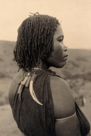 view Zululand, South Africa: a woman witch doctor. Photograph.