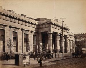 view The Tombs prison, Centre Street, New York City. Photograph by Francis Frith, ca. 1880.