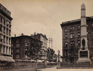 view Madison Square, Broadway, New York City: showing the Worth monument (right) Photograph by Francis Frith, ca. 1880.