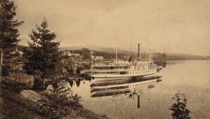 view Lake George, New York: the Horicon steamboat showing a clear reflection in the water. Photograph, ca. 1880.