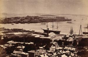 view Boston, Massachusetts: the harbour. Photograph, ca. 1880.