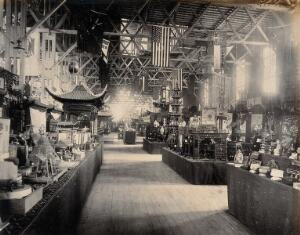 view The 1904 World's Fair, St. Louis, Missouri: Chinese exhibits: decorative furniture, ornaments and models. Photograph, 1904.