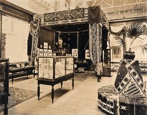view The 1904 World's Fair, St. Louis, Missouri: a Bulgarian decorative arts exhibit. Photograph, 1904.