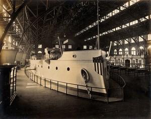 view The 1904 World's Fair, St. Louis, Missouri: a naval exhibit: an American ship. Photograph, 1904.