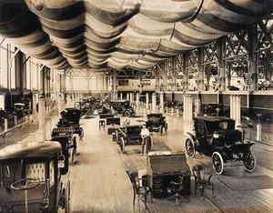 view The 1904 World's Fair, St. Louis, Missouri: an automobile exhibit. Photograph, 1904.