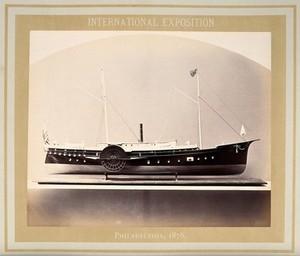 view Philadelphia International Exposition, 1876: the hospital steamboat J.K. Barnes: a model. Photograph, 1876.