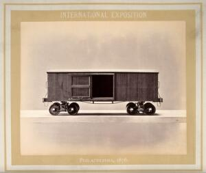 view Philadelphia International Exposition, 1876: American Civil War freight car: a model. Photograph, 1876.