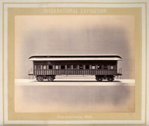 view Philadelphia International Exposition, 1876: American Civil War Army of the Cumberland train carriage: the kitchen car: a model. Photograph, 1876.