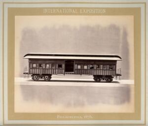 view Philadelphia International Exposition, 1876: American Civil War Army of the Cumberland train carriage: the hospital car: a model. Photograph, 1876.