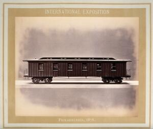 view Philadelphia International Exposition, 1876: American Civil War Army of the Potomac train carriage: the hospital car: a model. Photograph, 1876.