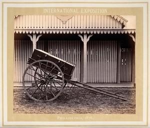 view Philadelphia International Exposition, 1876: U.S. military medicine cart prototype. Photograph, 1876.