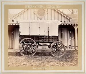 view Philadelphia International Exposition, 1876: American Civil War medicine wagon produced by T. Morris Perot and Company: side view. Photograph, 1876.