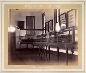 view Philadelphia International Exposition, 1876: model train carriages and steamboats in glass display cases. Photograph, 1876.