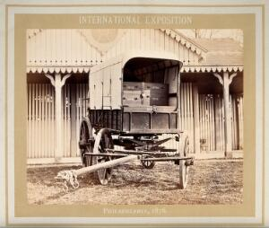 view Philadelphia International Exposition, 1876: American Civil War medicine wagon produced by T. Morris Perot and Company. Photograph, 1876.