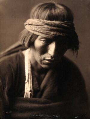 view A Navajo medicine man. Photograph by Edward S. Curtis, 1904.