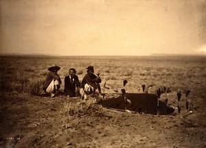 view A 'Yebichai Sweat' Navajo medicine ceremony. Photograph by Edward S. Curtis, 1904.
