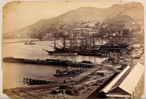view Lyttelton, New Zealand: the port and town from Sumner Road. Albumen print.