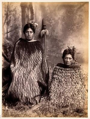 view New Zealand: two Maori women. Albumen print.