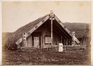 view Te Kuiti, King Country, New Zealand: King Tawhiao's house. Albumen print by Burton Bros.