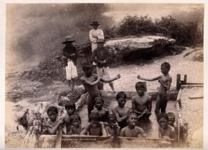 view Rotorua, New Zealand: Maori children in a thermal bath. Albumen print.