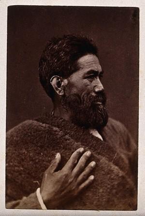 view New Zealand: a Maori man. Albumen print.
