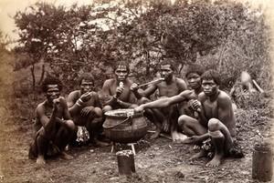 view South Africa: Natal people eating. Albumen print.