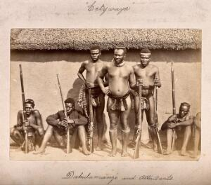 view South Africa: a group of Zulu men with rifles. Albumen print.