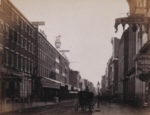 view Chestnut Street, Philadelphia, Pennsylvania: a horse and carriage in the foreground. Photograph by Francis Frith, ca. 1880.