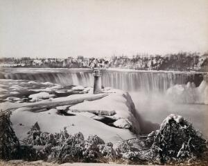 view Niagara Falls, Canada: the Horseshoe (or Canadian) Fall, in winter. Photograph by Francis Frith, ca. 1880.