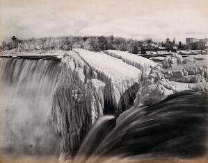 view Niagara Falls, United States of America: the American Fall, in winter. Photograph by Francis Frith, ca. 1880.