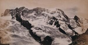 view The Swiss Alps, Switzerland: Lyskamm and Breithorn mountains, taken from mount Gornergrat. Photograph by Francis Frith, ca. 1880.