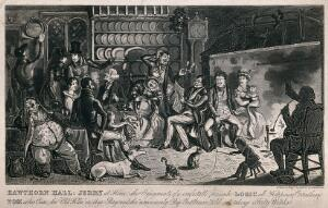 view Tom and Jerry at Jerry's house in Somerset with their companions seated around a fireplace, with a man reading something amusing. Aquatint by R. Cruikshank, 1830.