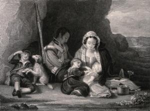 view A soldier's family rest in a small cove, his wife amuses the children while he sleeps. Engraving by W. Greatbach, 1830, after R. Edmonstone.