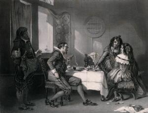 view A man is horrified at the high cost of a meal in a tavern while the two women whom he has entertained enjoy his discomfort. Engraving by S. Sangster, 1851, after A.L. Egg.
