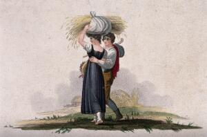 view After harvesting a young man walks with his arm around a young woman's waist while she carries a bundle of straw on her head. Coloured engraving.